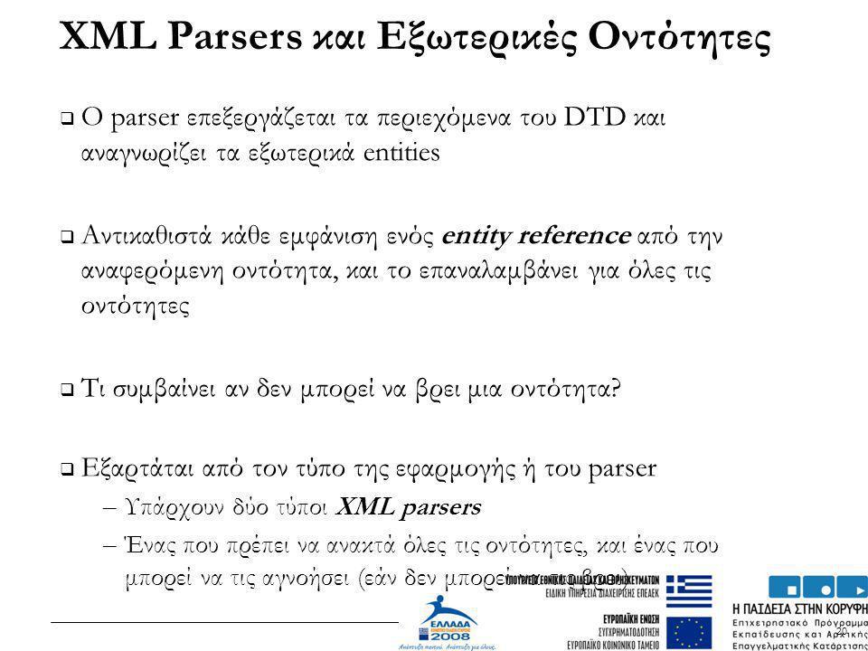 XML Parsers και Εξωτερικές Οντότητες