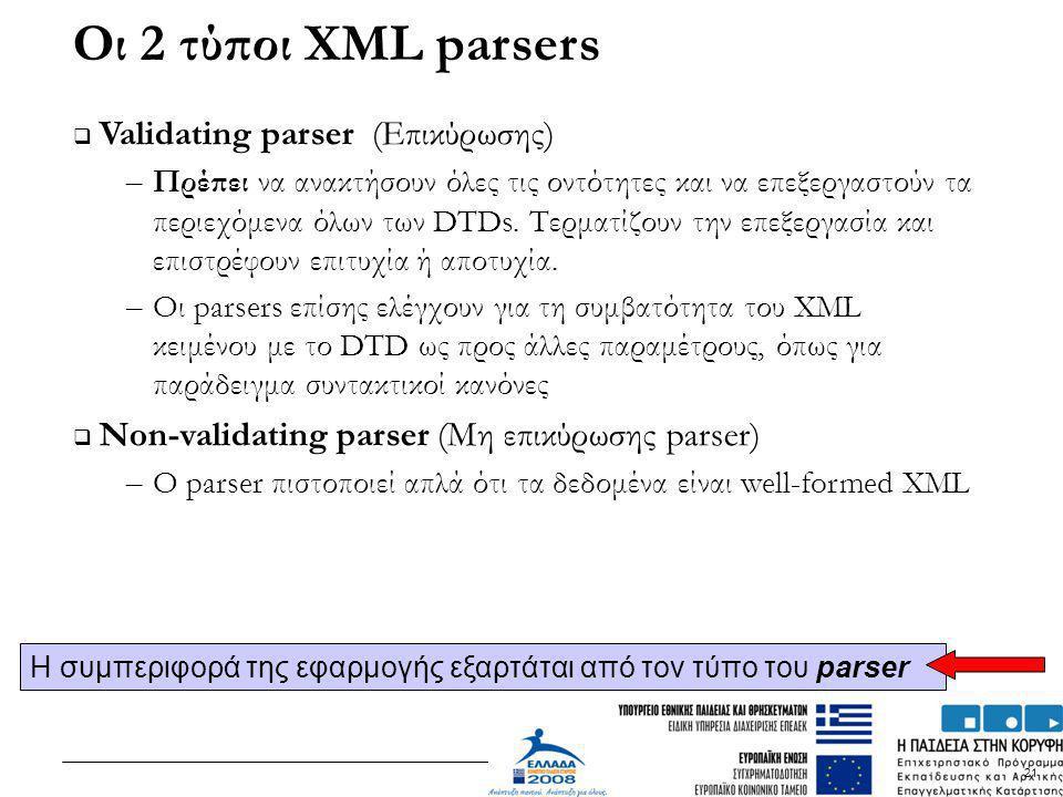 Οι 2 τύποι XML parsers Validating parser (Επικύρωσης)