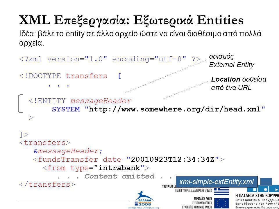 XML Επεξεργασία: Εξωτερικά Entities