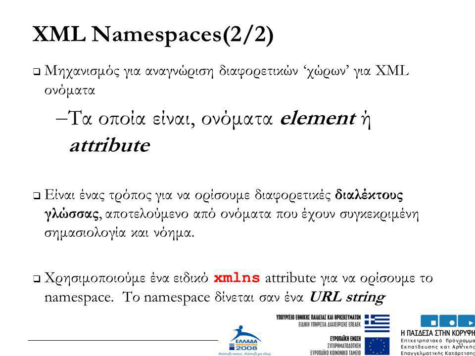 XML Namespaces(2/2) Τα οποία είναι, ονόματα element ή attribute