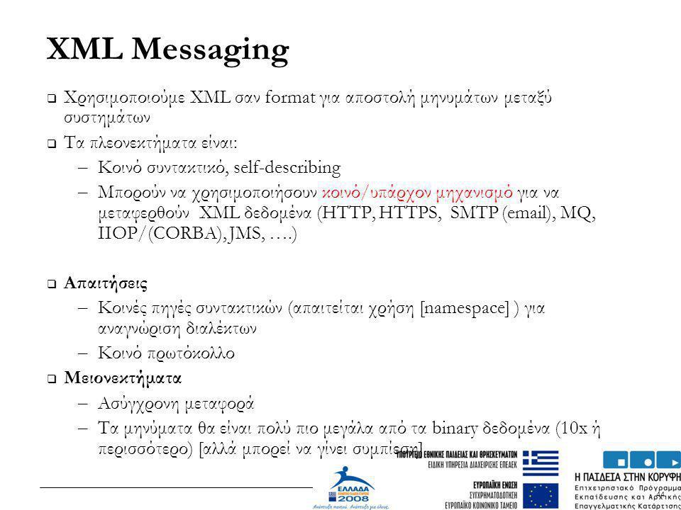 XML Messaging Χρησιμοποιούμε XML σαν format για αποστολή μηνυμάτων μεταξύ συστημάτων. Τα πλεονεκτήματα είναι: