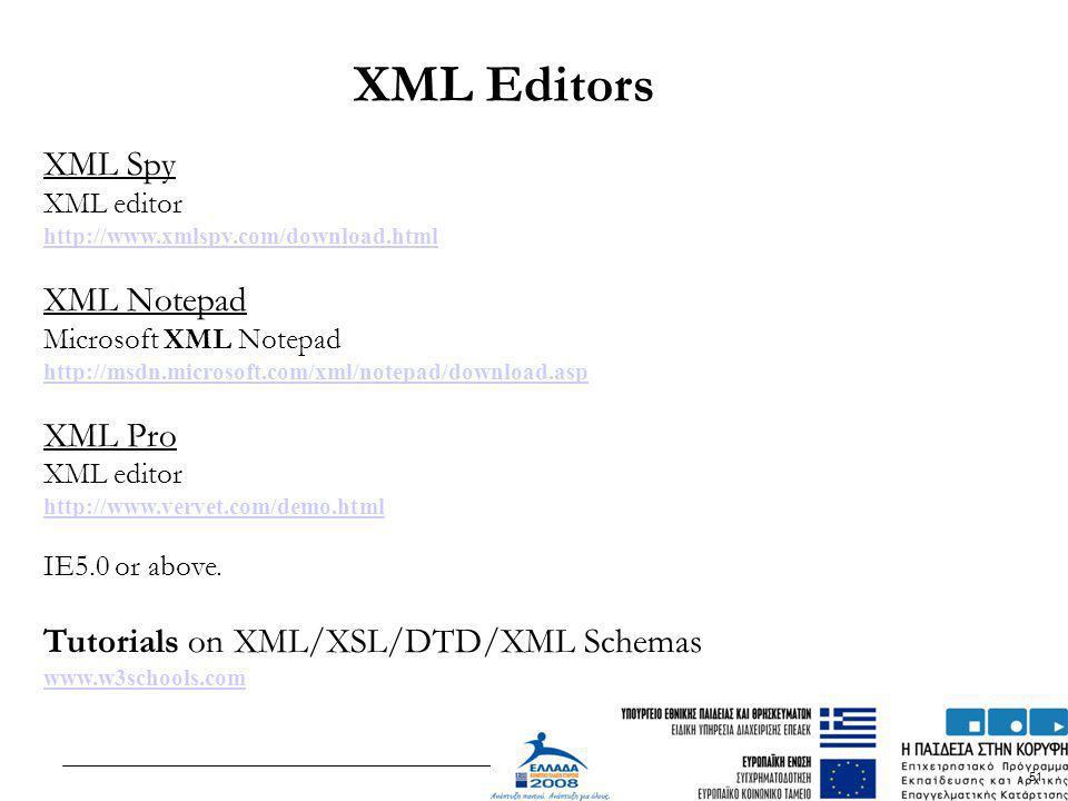 XML Editors XML Spy XML Notepad XML Pro