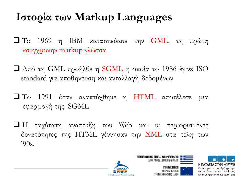 Ιστορία των Markup Languages
