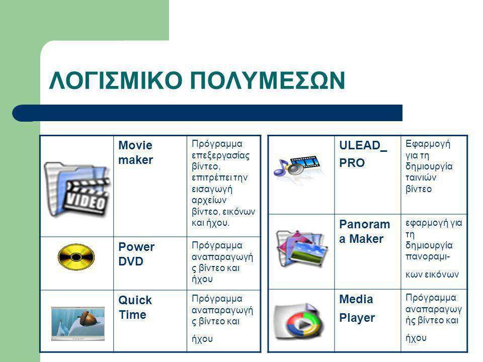 ΛΟΓΙΣΜΙΚΟ ΠΟΛΥΜΕΣΩΝ Movie maker Power DVD Quick Time ULEAD_ PRO