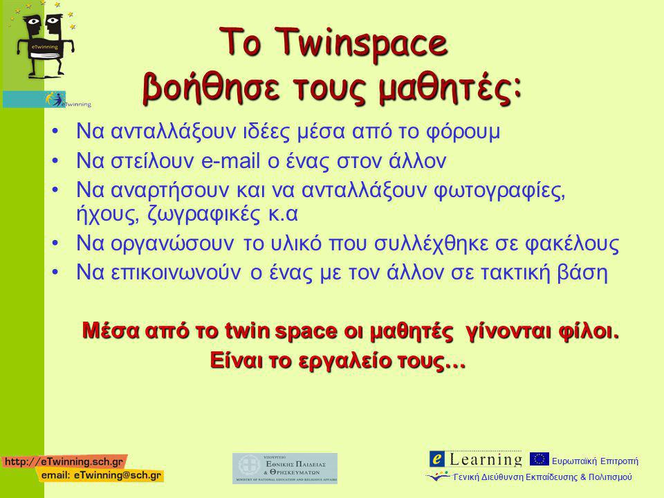 Το Twinspace βοήθησε τους μαθητές:
