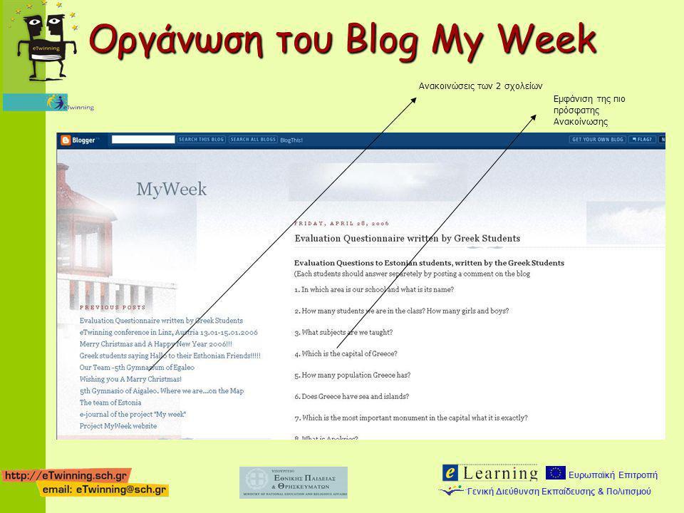 Οργάνωση του Blog My Week