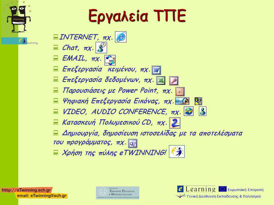 Εργαλεία ΤΠΕ INTERNET, πχ. Chat, πχ. EMAIL, πχ.