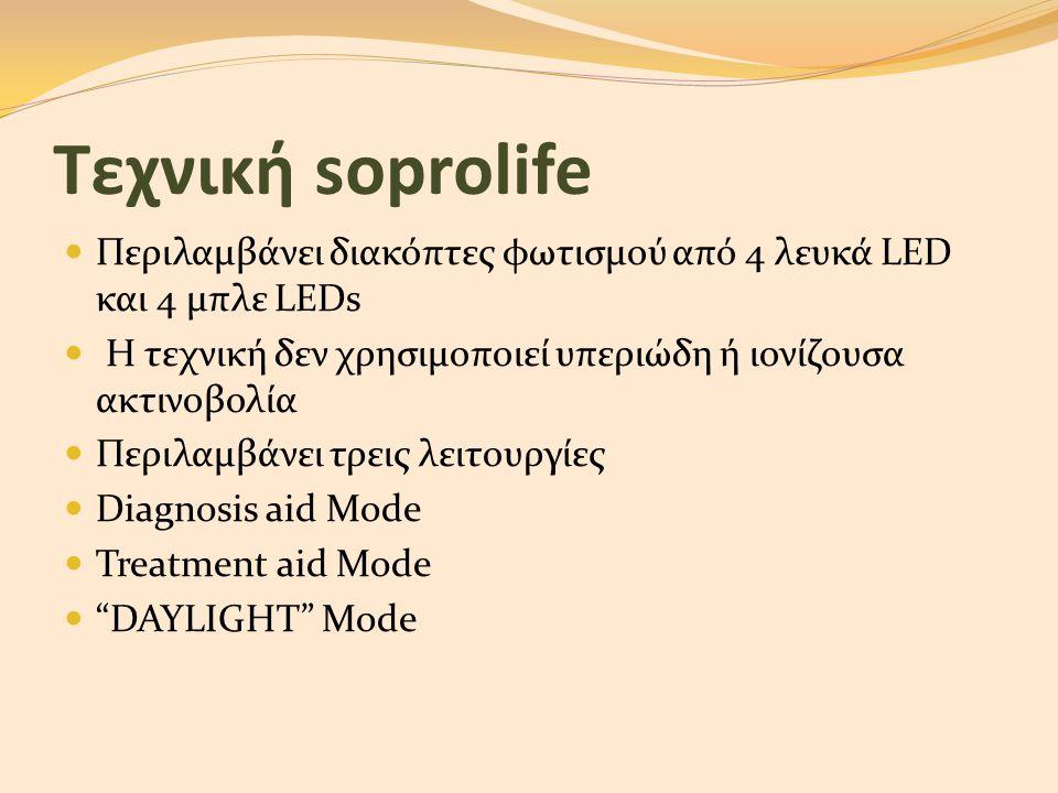 Τεχνική soprolife Περιλαμβάνει διακόπτες φωτισμού από 4 λευκά LED και 4 μπλε LEDs. Η τεχνική δεν χρησιμοποιεί υπεριώδη ή ιονίζουσα ακτινοβολία.
