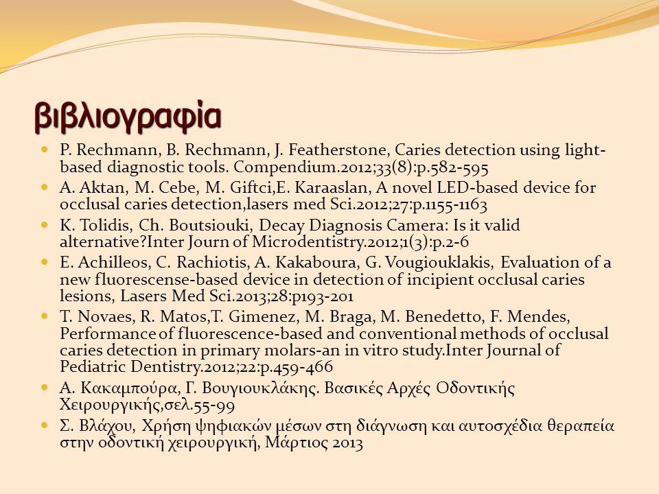 βιβλιογραφία P. Rechmann, B. Rechmann, J. Featherstone, Caries detection using light-based diagnostic tools. Compendium.2012;33(8):p.582-595.
