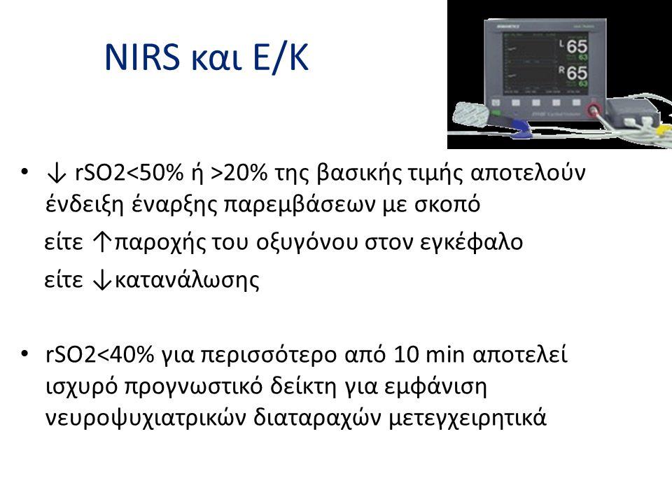 NIRS και Ε/Κ ↓ rSO2<50% ή >20% της βασικής τιμής αποτελούν ένδειξη έναρξης παρεμβάσεων με σκοπό. είτε ↑παροχής του οξυγόνου στον εγκέφαλο.