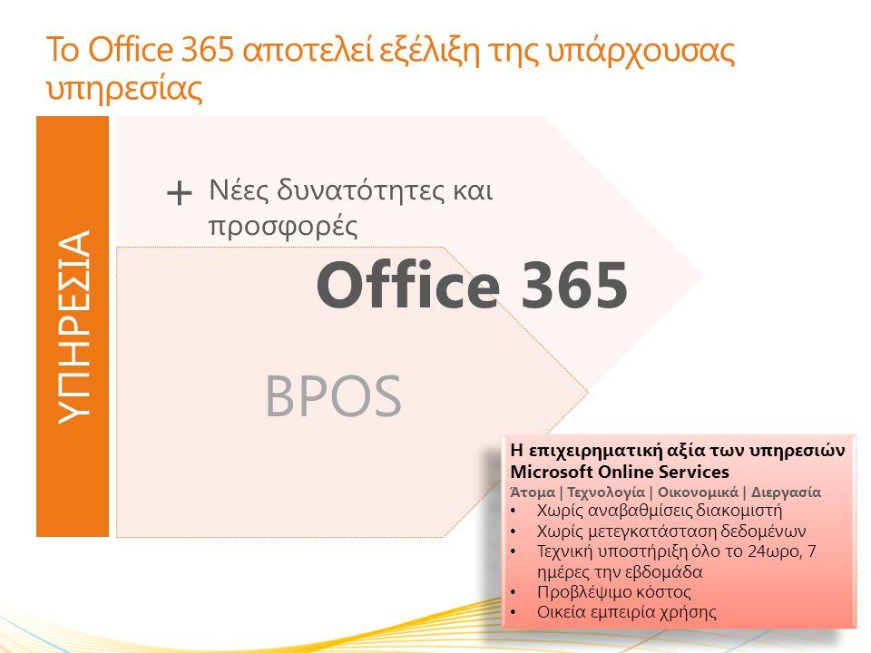 Το Office 365 αποτελεί εξέλιξη της υπάρχουσας υπηρεσίας
