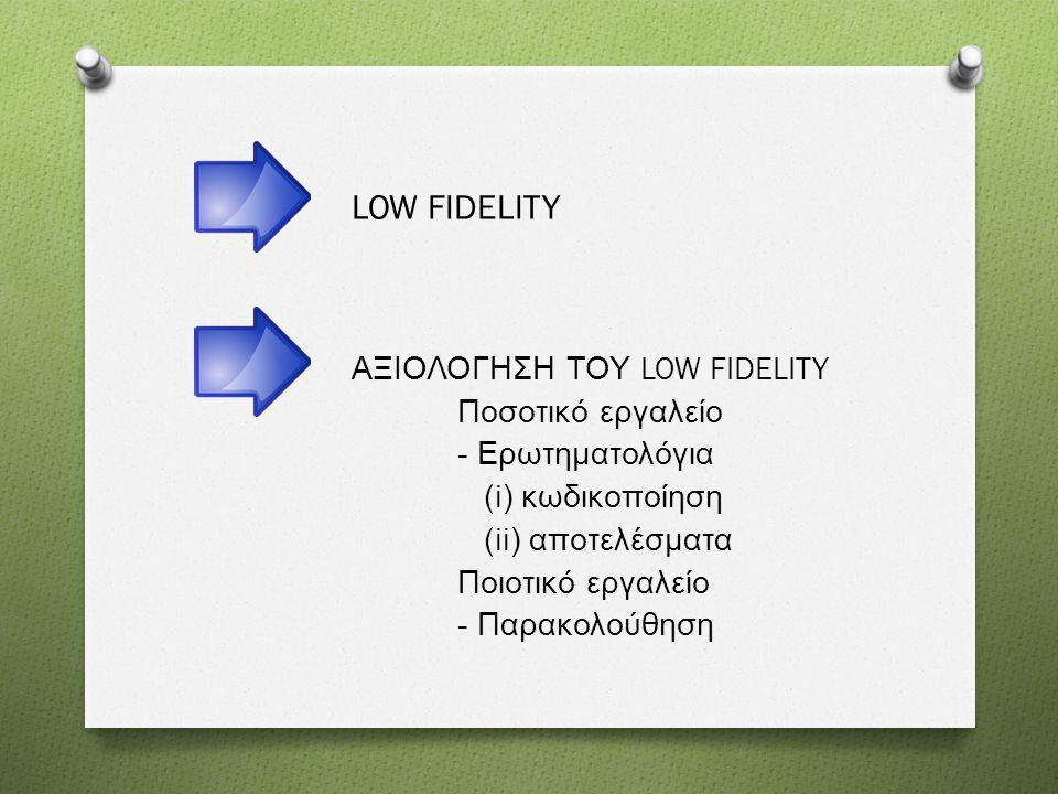 LOW FIDELITY ΑΞΙΟΛΟΓΗΣΗ ΤΟΥ LOW FIDELITY Ποσοτικό εργαλείο - Ερωτηματολόγια (i) κωδικοποίηση (ii) αποτελέσματα Ποιοτικό εργαλείο - Παρακολούθηση
