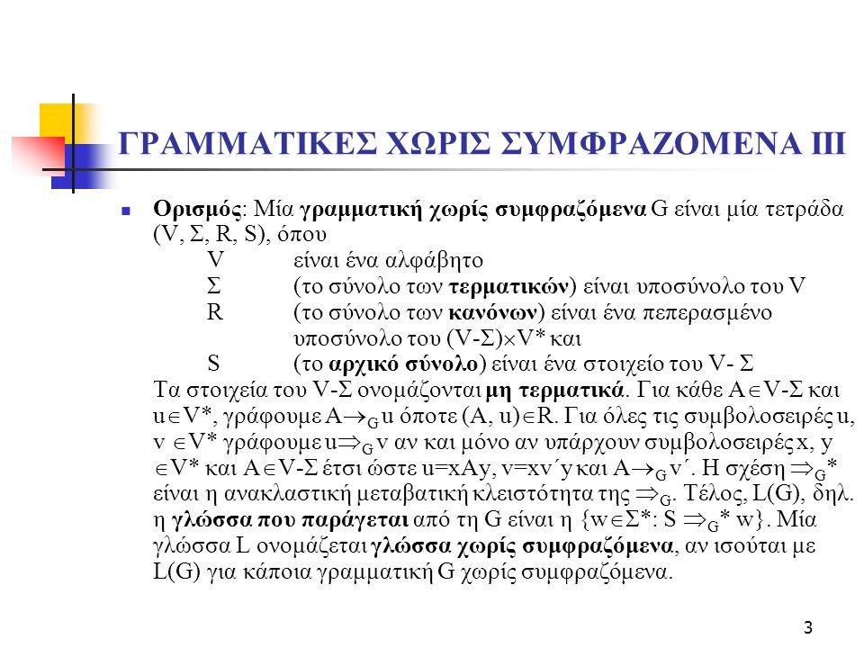 ΓΡΑΜΜΑΤΙΚΕΣ ΧΩΡΙΣ ΣΥΜΦΡΑΖΟΜΕΝΑ IΙΙ