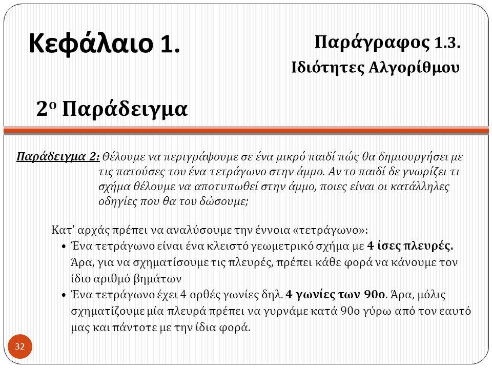Κεφάλαιο 1. 2ο Παράδειγμα Παράγραφος 1.3. Ιδιότητες Αλγορίθμου
