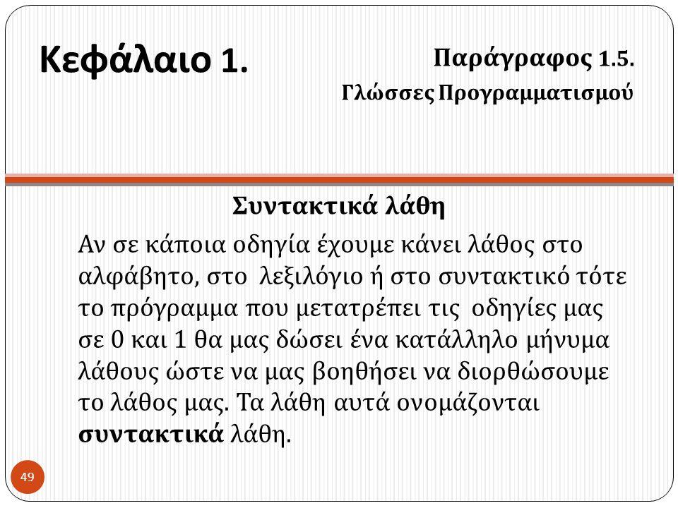 Κεφάλαιο 1. Παράγραφος 1.5. Συντακτικά λάθη