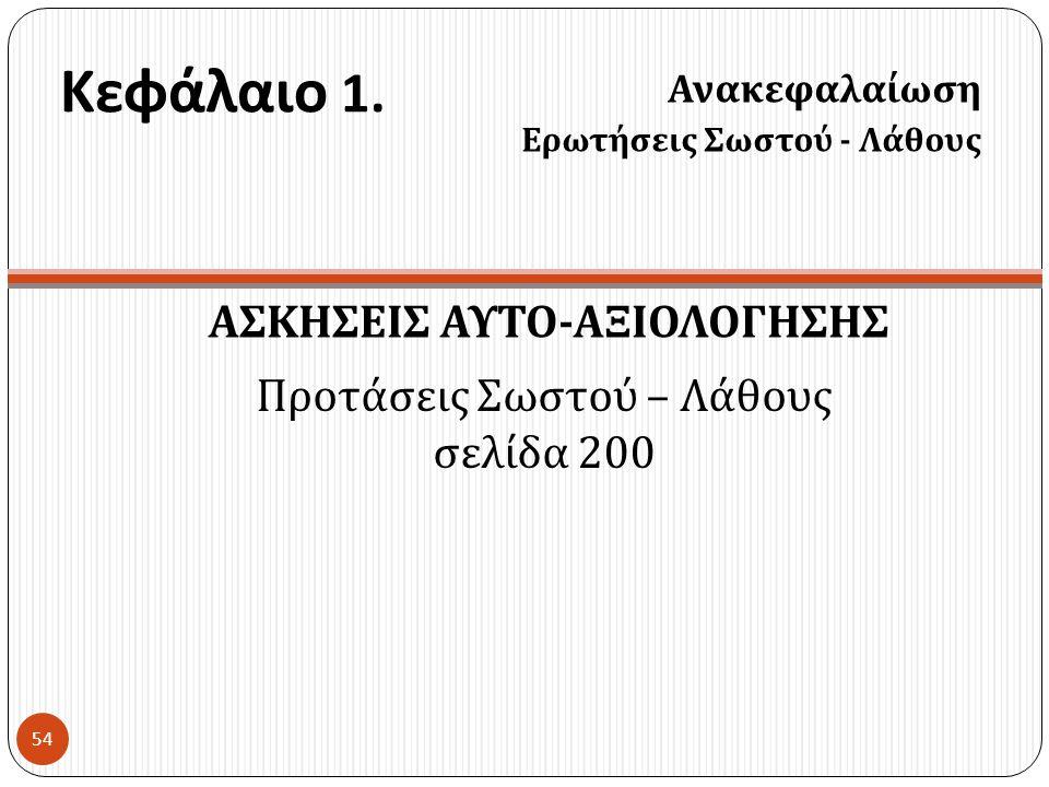 ΑΣΚΗΣΕΙΣ ΑΥΤΟ-ΑΞΙΟΛΟΓΗΣΗΣ