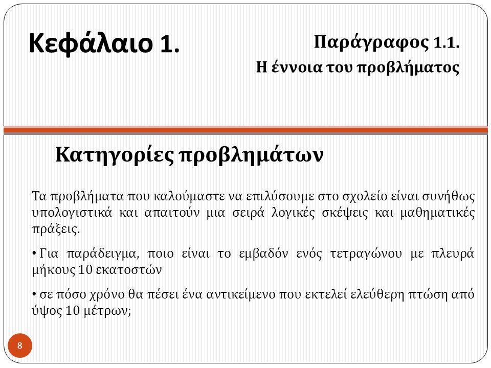 Κεφάλαιο 1. Κατηγορίες προβλημάτων Παράγραφος 1.1.