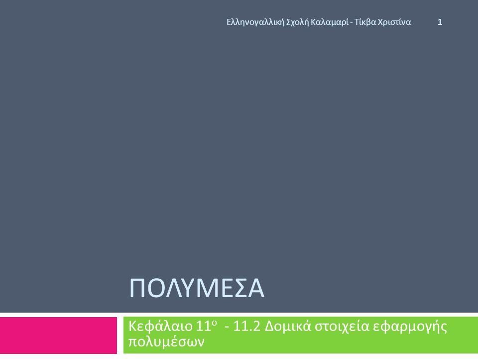 Κεφάλαιο 11ο - 11.2 Δομικά στοιχεία εφαρμογής πολυμέσων