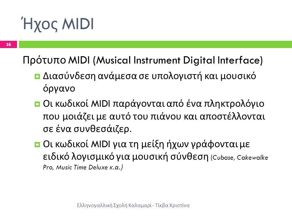 Ήχος MIDI Πρότυπο MIDI (Musical Instrument Digital Interface)