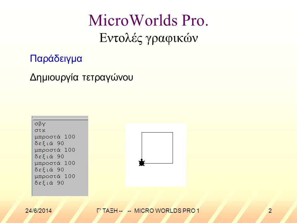 MicroWorlds Pro. Εντολές γραφικών