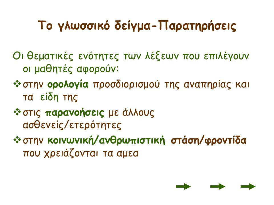 Το γλωσσικό δείγμα-Παρατηρήσεις