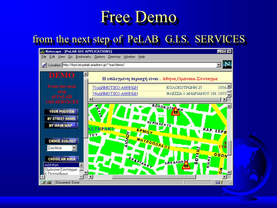 Free Demo from the next step of PeLAB G.I.S. SERVICES