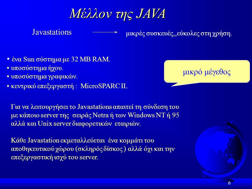 Μέλλον της JAVA Javastations ένα Sun σύστημα με 32 MB RAM.