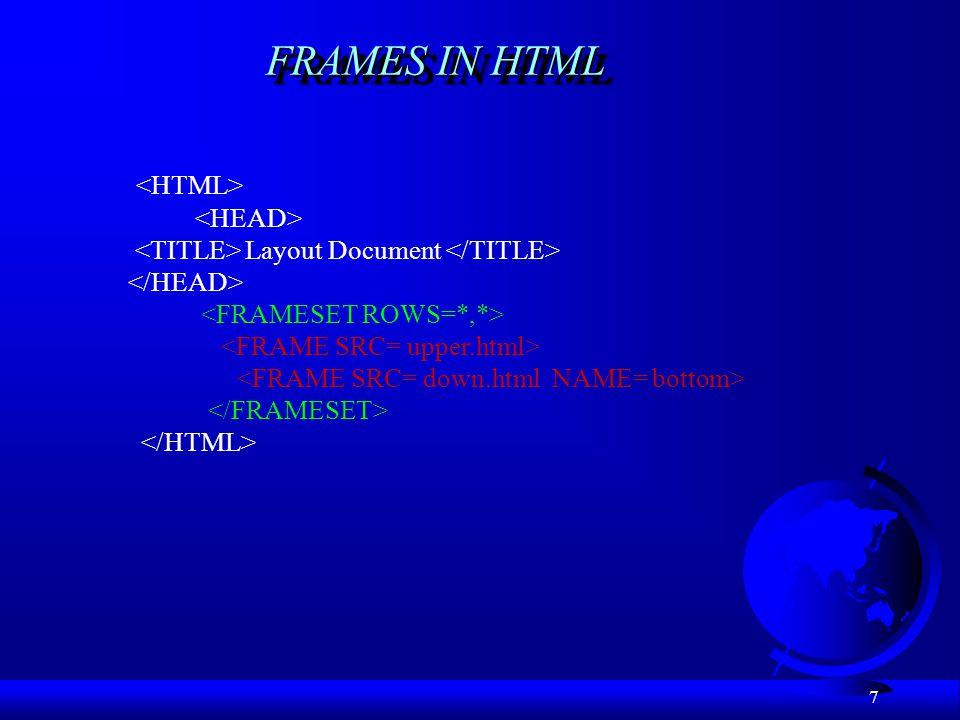 FRAMES IN HTML <HTML> <HEAD>