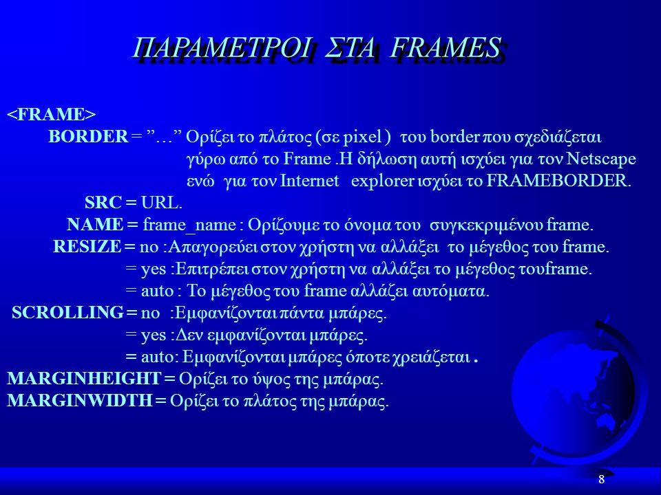 ΠΑΡΑΜΕΤΡΟI ΣTA FRAMES <FRAME>