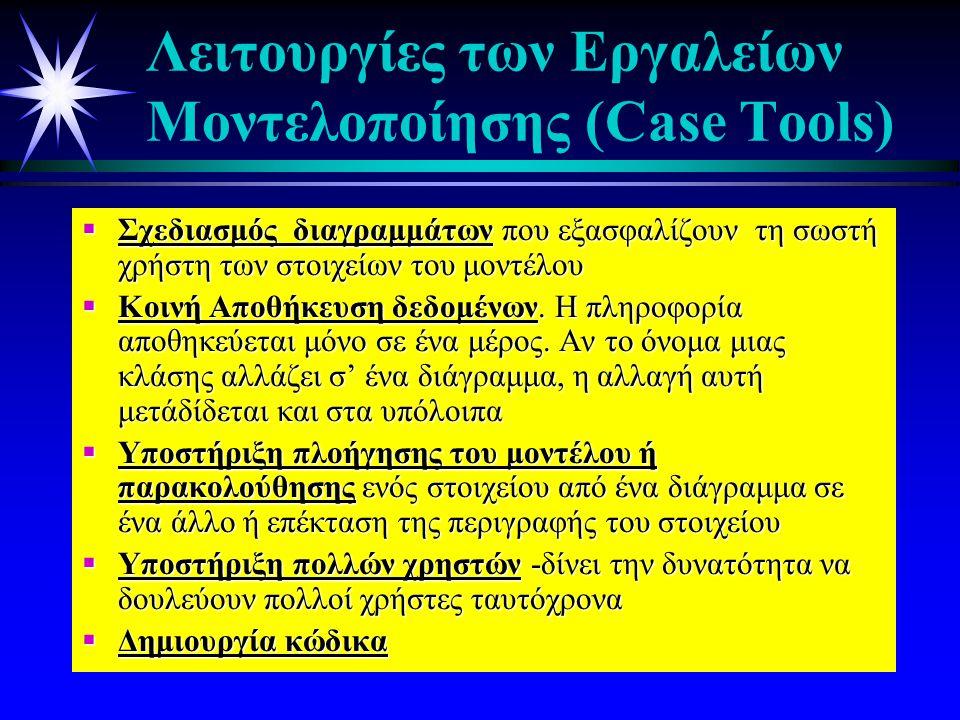 Λειτουργίες των Εργαλείων Μοντελοποίησης (Case Tools)