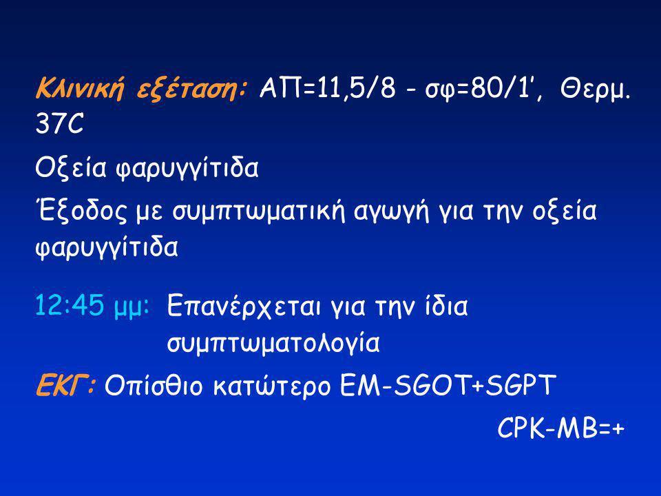 Κλινική εξέταση: ΑΠ=11,5/8 - σφ=80/1', Θερμ. 37C