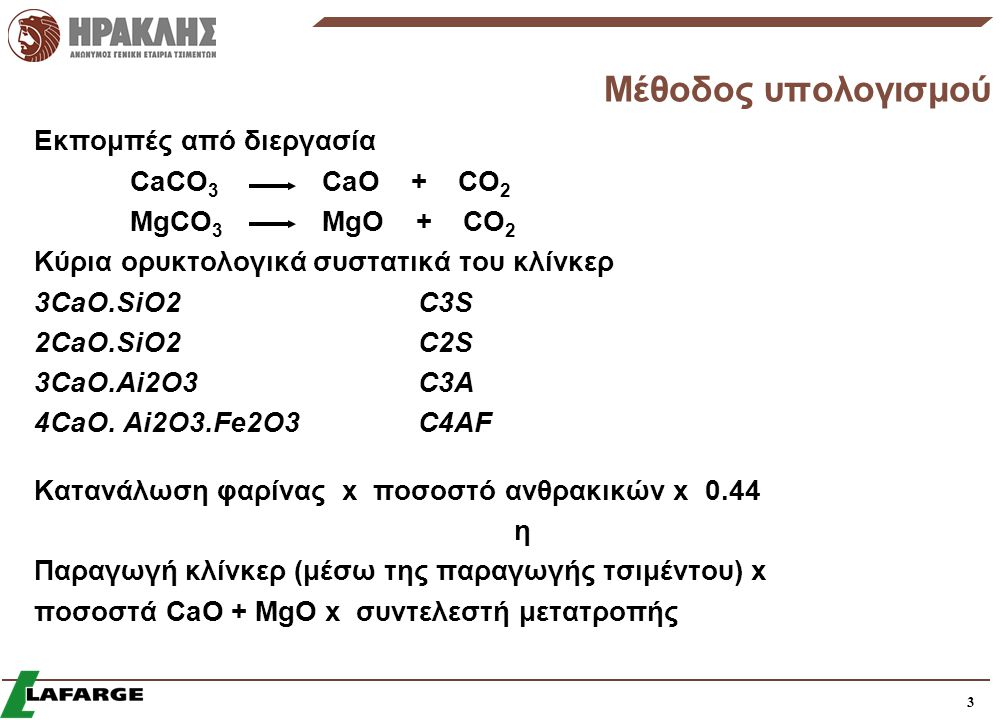 Μέθοδος υπολογισμού Εκπομπές από διεργασία CaCO3 CaO + CO2