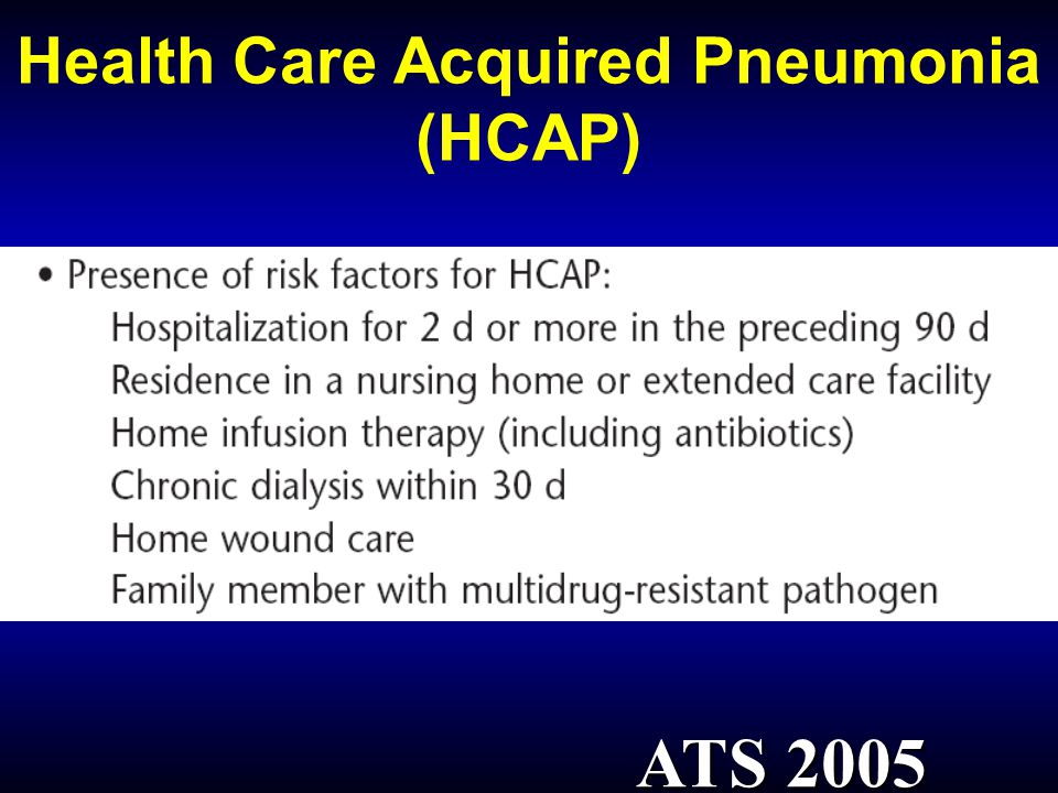 Health Care Acquired Pneumonia (HCAP)