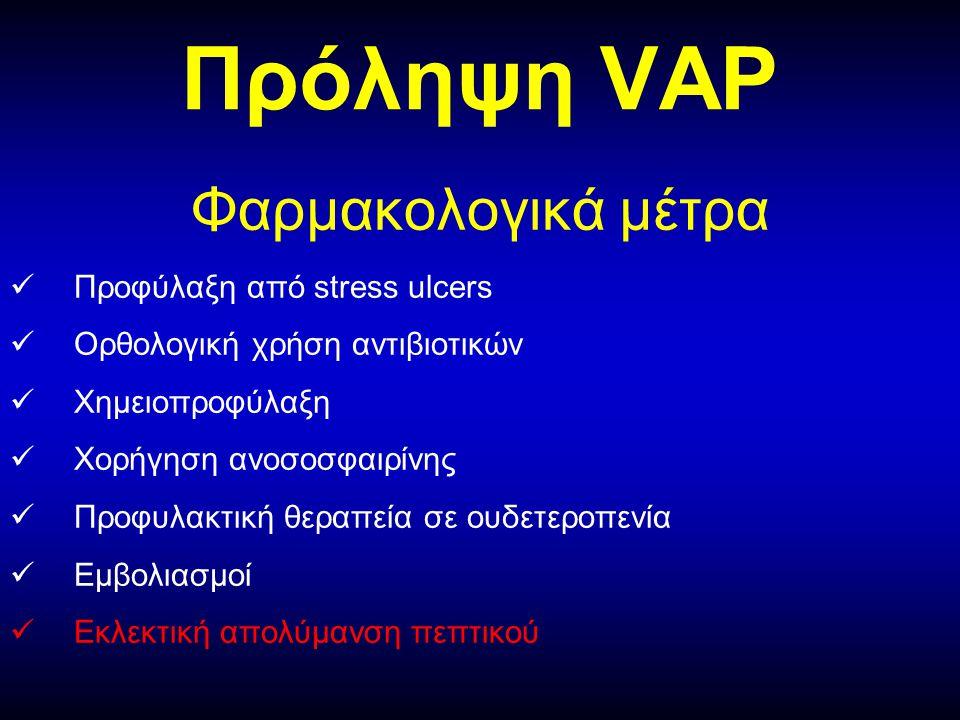 Πρόληψη VAP Φαρμακολογικά μέτρα Προφύλαξη από stress ulcers