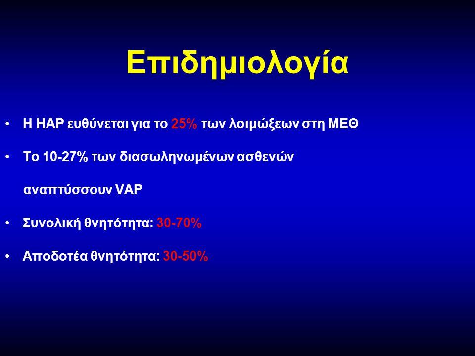 Επιδημιολογία Η ΗΑP ευθύνεται για το 25% των λοιμώξεων στη ΜΕΘ