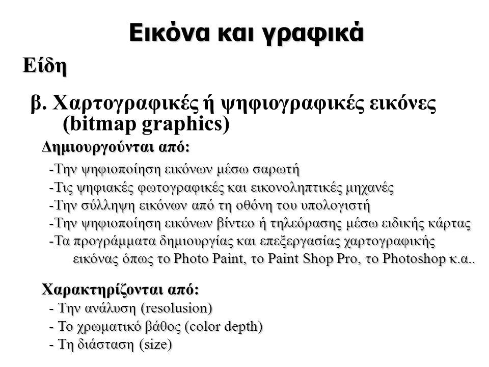 β. Χαρτογραφικές ή ψηφιογραφικές εικόνες (bitmap graphics)