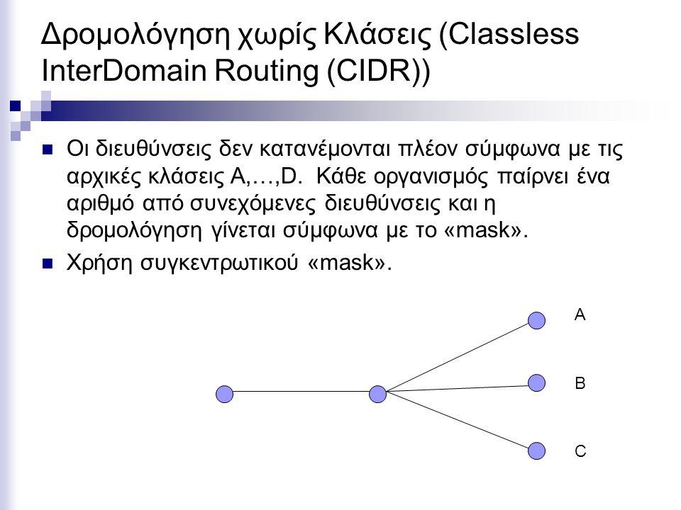 Δρομολόγηση χωρίς Κλάσεις (Classless InterDomain Routing (CIDR))