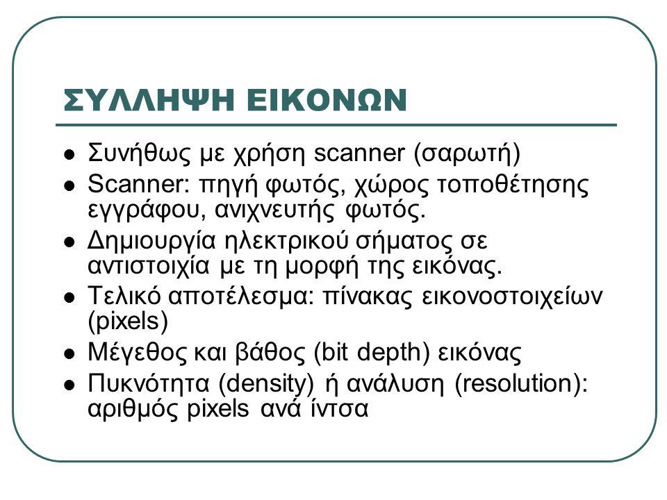 ΣΥΛΛΗΨΗ ΕΙΚΟΝΩΝ Συνήθως με χρήση scanner (σαρωτή)