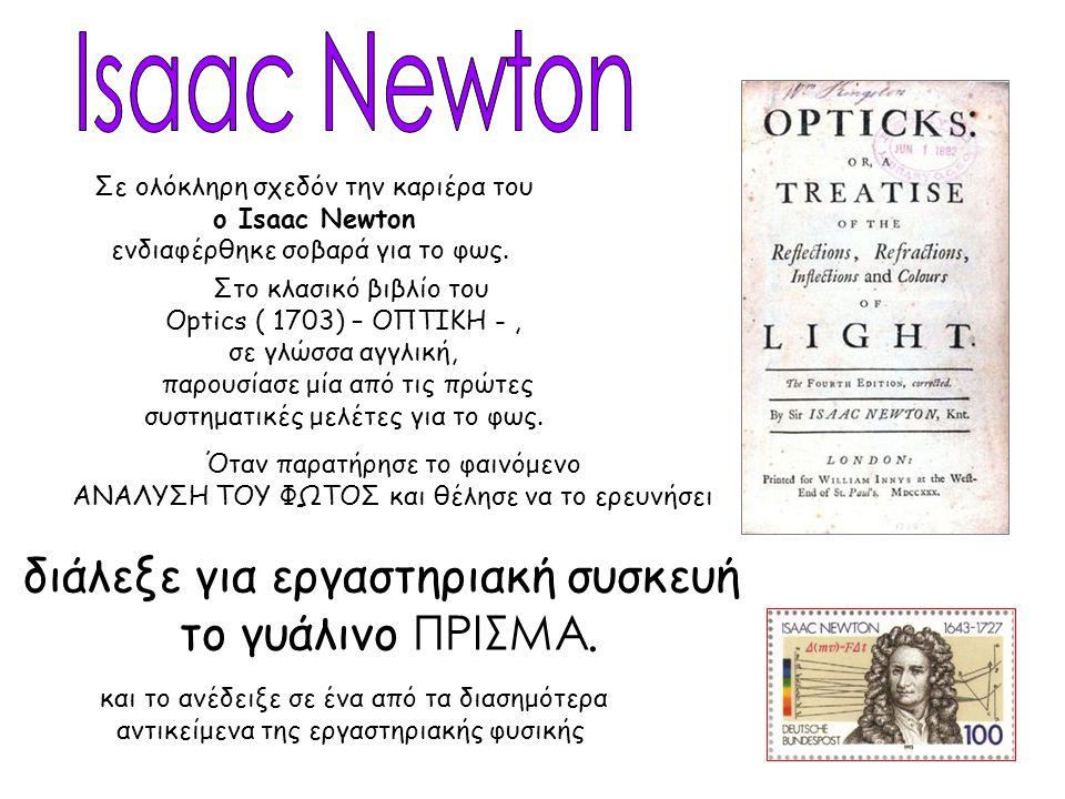 Isaac Newton διάλεξε για εργαστηριακή συσκευή το γυάλινο ΠΡΙΣΜΑ.
