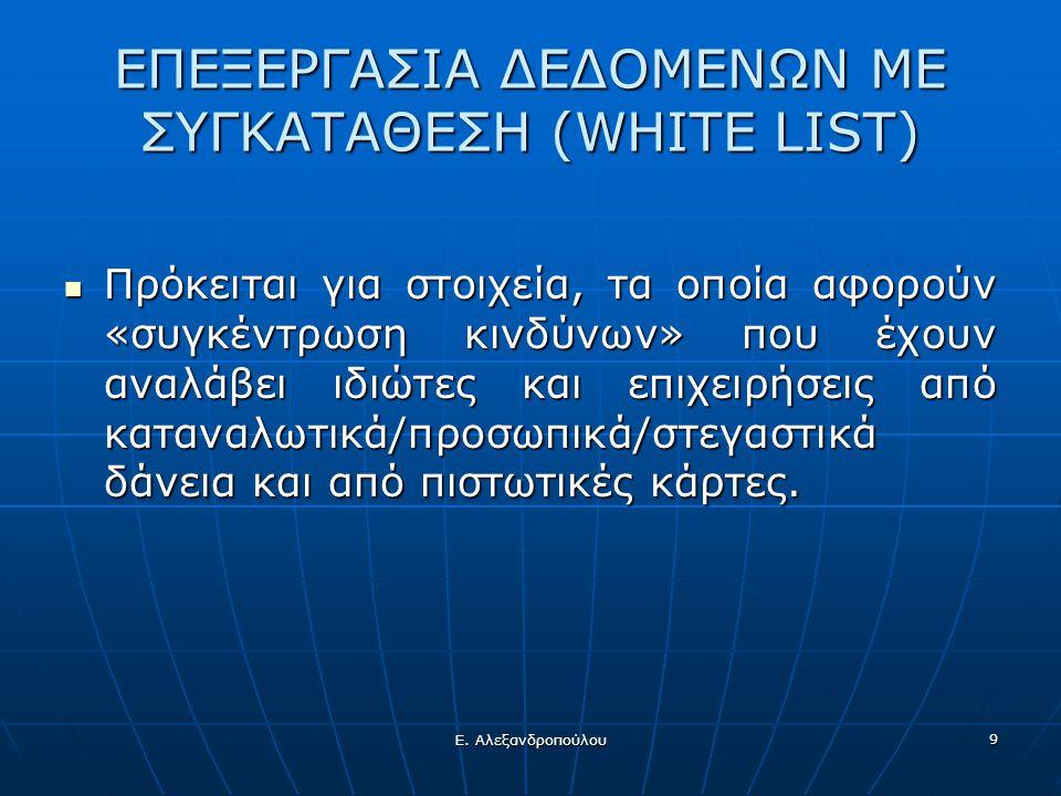 ΕΠΕΞΕΡΓΑΣΙΑ ΔΕΔΟΜΕΝΩΝ ΜΕ ΣΥΓΚΑΤΑΘΕΣΗ (WHITE LIST)