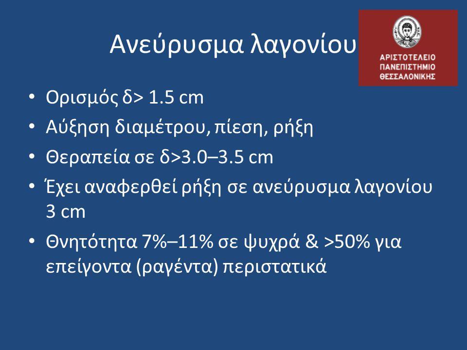 Ανεύρυσμα λαγονίου Ορισμός δ> 1.5 cm Αύξηση διαμέτρου, πίεση, ρήξη