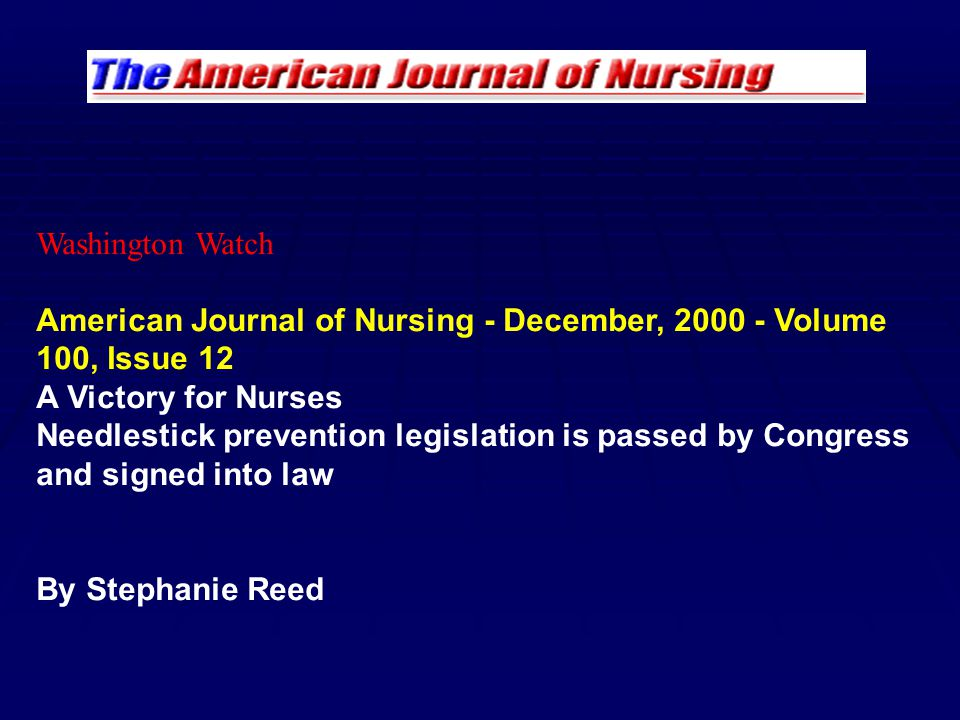 Washington Watch American Journal of Nursing - December, Volume 100, Issue 12