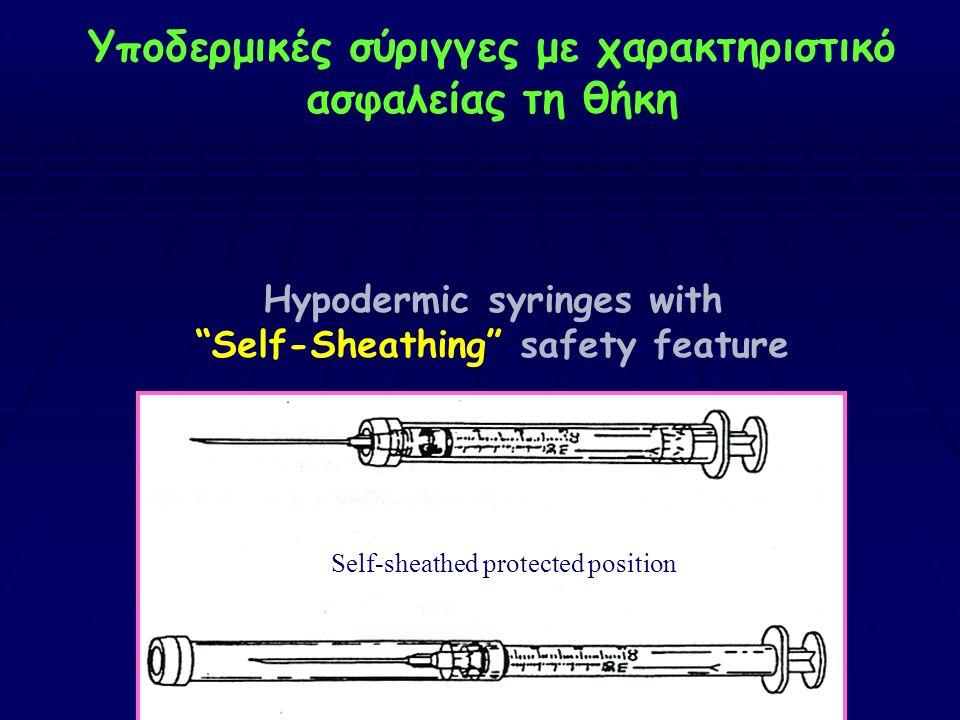 Υποδερμικές σύριγγες με χαρακτηριστικό ασφαλείας τη θήκη Hypodermic syringes with Self-Sheathing safety feature
