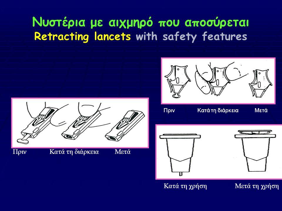 Νυστέρια με αιχμηρό που αποσύρεται Retracting lancets with safety features
