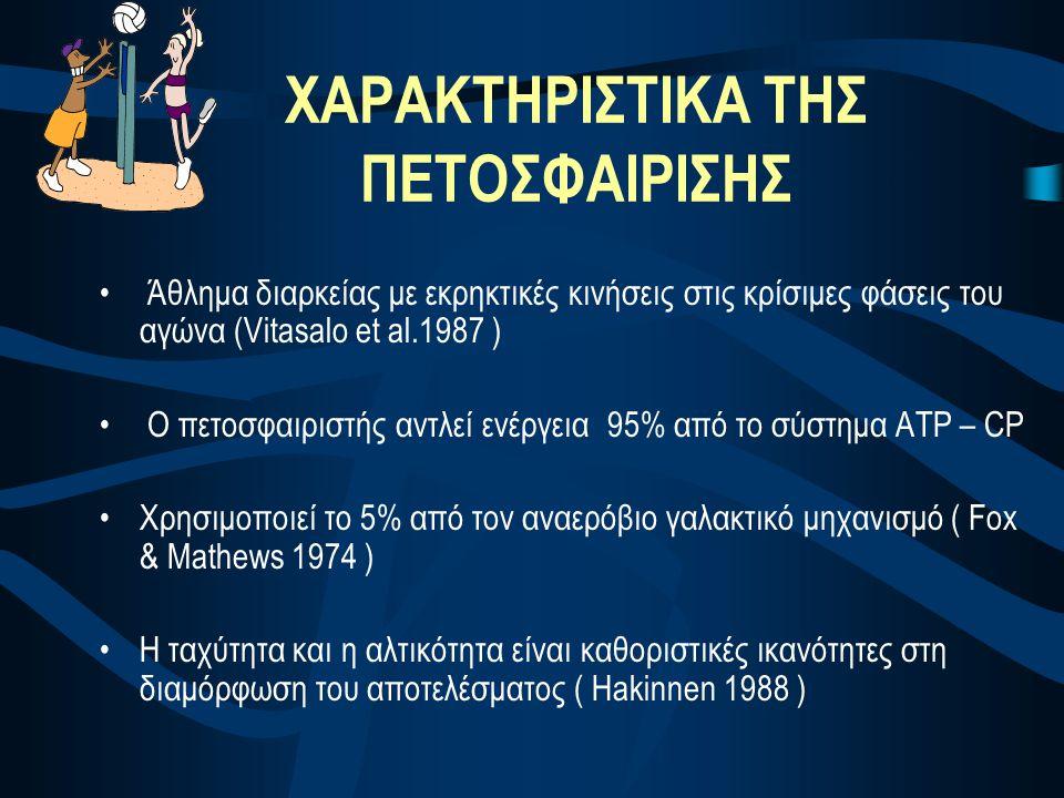 ΧΑΡΑΚΤΗΡΙΣΤΙΚΑ ΤΗΣ ΠΕΤΟΣΦΑΙΡΙΣΗΣ