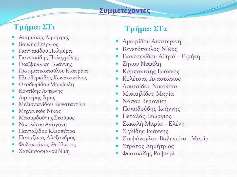 Συμμετέχοντες Τμήμα: ΣΤ1 Τμήμα: ΣΤ2 Αμοιρίδου Αικατερίνη