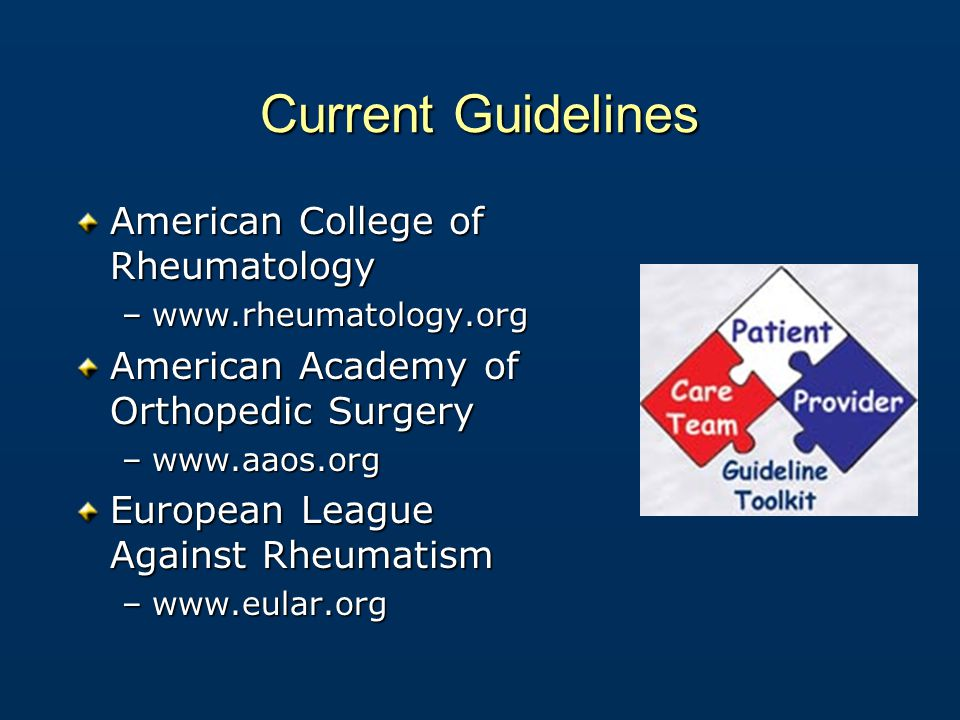 Current Guidelines American College of Rheumatology