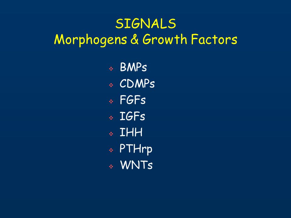 SIGNALS Morphogens & Growth Factors