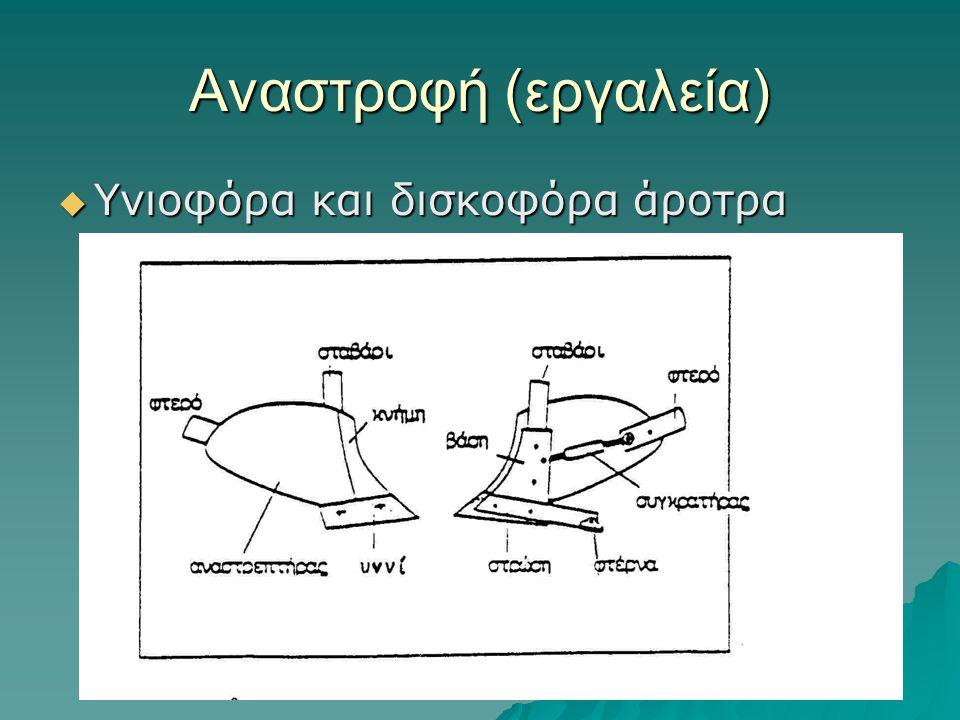 Αναστροφή (εργαλεία) Υνιοφόρα και δισκοφόρα άροτρα