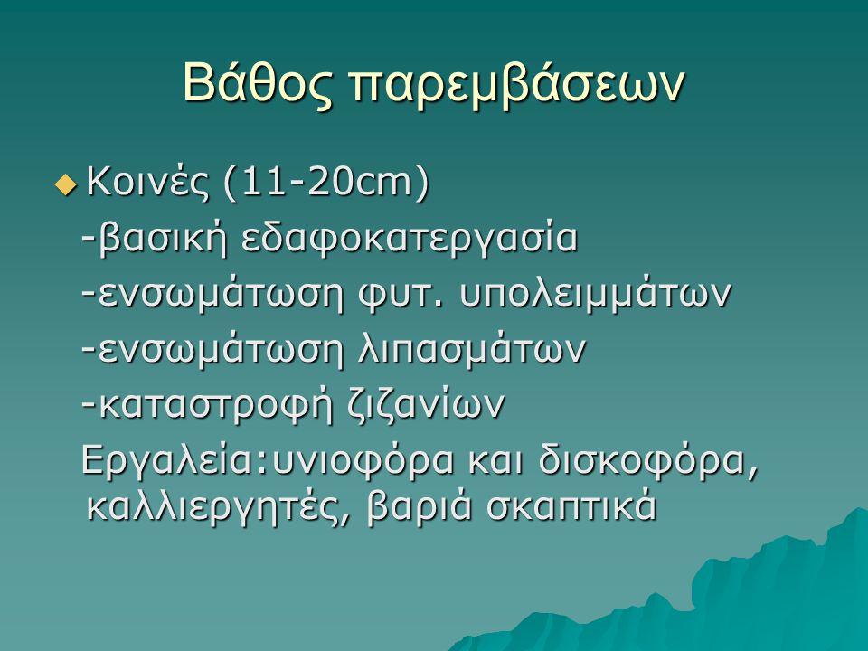 Βάθος παρεμβάσεων Κοινές (11-20cm) -βασική εδαφοκατεργασία